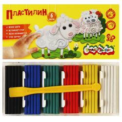 Пластилин 6 цветов 90гр Каляка-Маляка со стеком картонная коробка ПКМ06