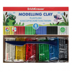 Пластилин 6 цветов 108гр Erich Krause со стеком картонная коробка 50545