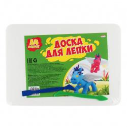 Доска для лепки А4 Проф-Пресс с бортом пластик 2 стека ДЛ-4990 белая
