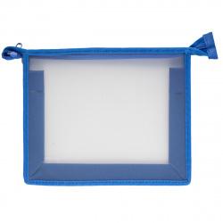 Папка для тетрадей А5 пластик молния сверху 1 отделение Пчелка ПМ-А5-00 прозрачная/синяя