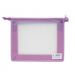 Папка для тетрадей А5 пластик молния сверху 1 отделение Пчелка ПМ-А5-00 прозрачная/сиреневая