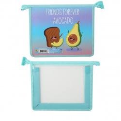 Папка для тетрадей А5 пластик/картон молния сверху 1 отделение Авокадо и Хлебушек Пчелка ПМ-А5-291
