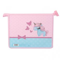 Папка для тетрадей А5, пластик, картон, на молнии сверху, для девочек Pretty Unicorn КОКОС 210490