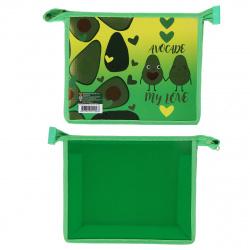 Папка для тетрадей А5 пластик молния сверху 1 отделение Авокадо Лав Пчелка ПМ-А5-22