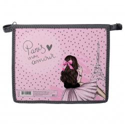 Папка для тетрадей А5, картон, пластик, на молнии сверху, для девочек Paris Fashion КОКОС 215199