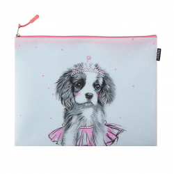 Папка для тетрадей А4, силикон, на молнии сверху, для девочек Dog Princess deVENTE 8053176