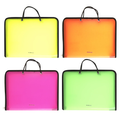 Сумка-портфель пластиковая с ручками 22*32*3 молния Diagonal Neon Erich Krause 47083 ассорти 4 вида