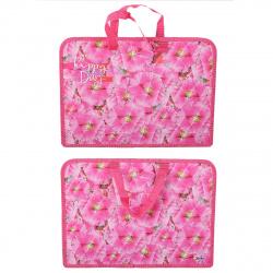 Сумка-портфель пластиковая с ручками 24*34*4 молния Цветы калейдоскоп Оникс ПТ-14 56753
