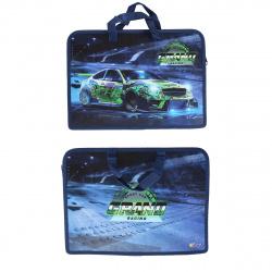 Сумка-портфель пластиковая с ручками 24*34*4 молния Зеленая машина Оникс ПТ-14 62043