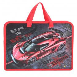 Сумка-портфель пластиковая с ручками 24*34*4 молния Красная машина Оникс ПТ-14 62041