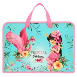 Сумка-портфель пластиковая с ручками 24*34*4 молния Принцесса и фламикорн Оникс ПТ-14 63840
