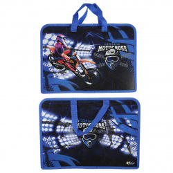 Сумка-портфель пластиковая с ручками 24*34*8 молния Мото драйв Оникс ПТ-14-4 56835