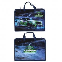 Сумка-портфель пластиковая с ручками 24*34*8 молния Зеленая машина ПТ-14-4 Оникс 62028