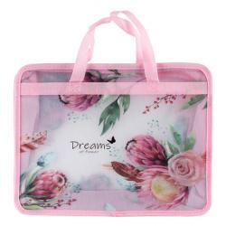 Сумка-портфель пластиковая с ручками 25*34*8 молния Spring Flowers 209114 КОКОС