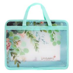 Сумка-портфель пластиковая с ручками 25*34*8 молния Flowers 209115 КОКОС