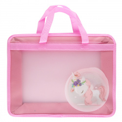 Сумка-портфель пластиковая с ручками 25*34*8 молния Unicorn 209116 КОКОС