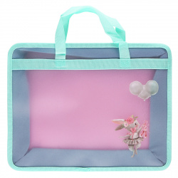 Сумка-портфель пластиковая с ручками 25*34*8 молния Bunny 209117 КОКОС