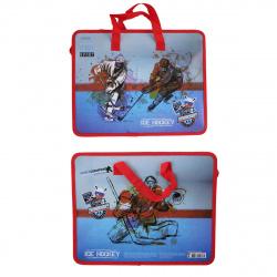 Сумка-портфель пластиковая с ручками 26*33*8 молния Ice Hockey deVENTE 8053006