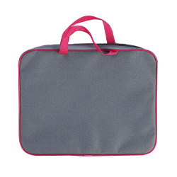 Сумка-портфель ткань с ручками 26*34*7 молния Менеджер Оникс ПМД 2-42/56864 серый-розовый