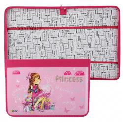 Папка для труда А4, ламинированный картон, ткань, на молнии вокруг Принцесса с подарками Оникс ПТ-Р4 56816