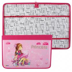 Папка для труда А4, ламинированный картон, ткань, на молнии вокруг Принцесса с подарками Оникс 56847