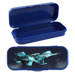 Пенал-футляр пластик 21,5*9*4 1 отделение Стамм Самолет ПН220 синий