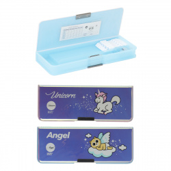 Пенал-футляр пластик 24*9*3 2 отделения Angel Unicorn XIAOLINGJING 211094 ассорти 2 вида