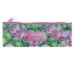 Пенал косметичка ткань 1 отделение 20*7 Тропические орхидеи Пчелка К-2