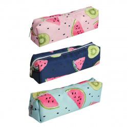 Пенал мягкий ткань 1 отделение прямоугольный 18*5*4 Сочные фрукты КОКОС 205284 ассорти 3 вида