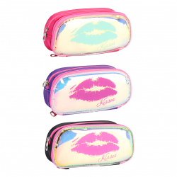 Пенал прямоугольный, ткань, 2 отделения, 90*200*60мм, 1 внутренний карман, ассорти 3 вида Kisses КОКОС 210944