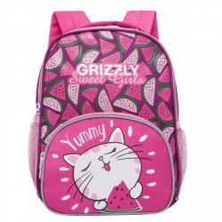 Рюкзак детский полиэстер 1 отделение 22*30*11 Grizzly RK-076-1 ярко-розовый/светло-серый