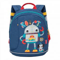 Рюкзак детский полиэстер 1 отделение 24*28*12 Джинса Grizzly RK-078-2