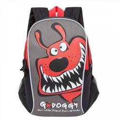 Рюкзак детский полиэстер 2 отделение 24*34*10 Grizzly RK-079-3 черный/красный