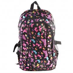 Рюкзак ткань мягкая спинка EVA 3 отделения 32*46*18 Цветные бабочки КОКОС 180809 черный