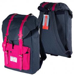 Рюкзак ткань 1 отделение 28*41*14 deVENTE 7033752  темно-синий в горох с розовым горохом