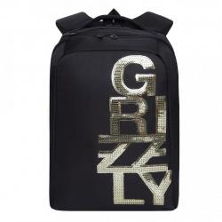 Рюкзак полиэстер эргономичная спинка 2 отделение 28*38*14 Grizzly RD-044-3 черный/золото