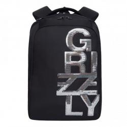 Рюкзак полиэстер эргономичная спинка 2 отделение 28*38*14 Grizzly RD-044-3 черный/серебро