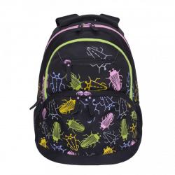 Рюкзак полиэстер эргономичная спинка 1 отделение 30*42*16 Черные жуки Grizzly RD-951-2
