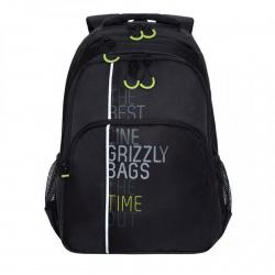 Рюкзак полиэстер эргономичная спинка 2 отделения 30*44*14 Grizzly RU-030-3 черный/салатовый