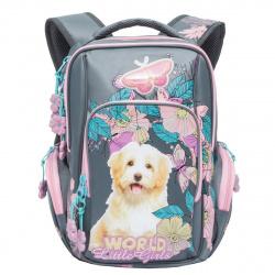 Рюкзак нейлон эргономичная спинка 2 отделения 28*37*19 Grizzly RG-760-1 серый/розовый