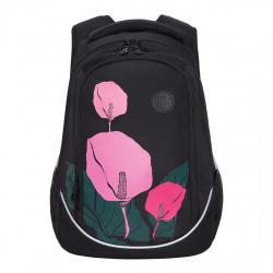 Рюкзак полиэстер, спинка эргономичная, 3 отделения, пайетки, 280*410*140мм, черный Grizzly