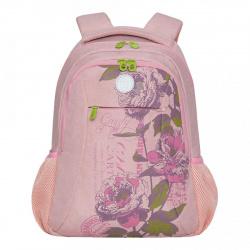 Рюкзак полиэстер, спинка эргономичная, 2 отделения, 300*400*160мм, розовый Grizzly