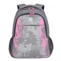 Рюкзак полиэстер, спинка эргономичная, 2 отделения, 300*400*160мм, серый/розовый Grizzly