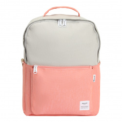 Рюкзак ткань, спинка мягкая, 1 отделение, 310*410*140мм, персиковый/серый HIMAWARI 210521