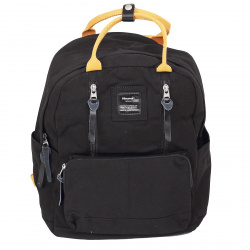 Рюкзак ткань, спинка мягкая EVA, 1 отделение, 280*390*140мм, черный/желтый HIMAWARI 210512