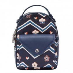 Рюкзак кожзам 1 отделение 14*20*8 OrsOro DS-981 синий с зигзагами
