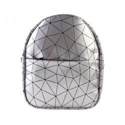 Рюкзак кожзам 1 отделение 23*27*8 Грани Оникс Геометрия серебристая СР-11-116/61023