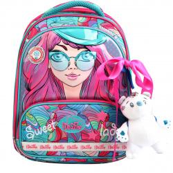 Ранец спинка ортопедическая EVA, 2, отделение для ноутбука, 280*360*160мм, сумка для сменной обуви, пенал без наполнения, лента, игрушка De Lune 9-122