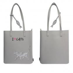 Сумка шоппер детская кожзам 1 отделение 31*34*2 Gray Cat deVENTE 7034005 серый