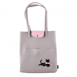 Сумка шоппер, искусственная кожа, 1 отделение, 320*350*20мм, цвет сиренево-серый Black Cat deVENTE 7034102